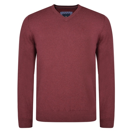 Burgundy Carn Cotton V Neck Classic Fit Jumper  - Click to view a larger image