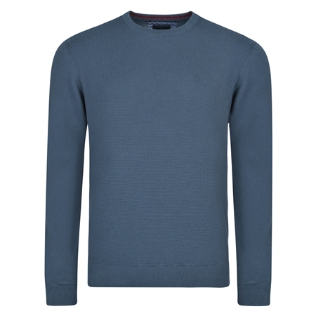 Navy Faugher Structure Cotton Crew Neck Classic Fit Jumper  - Click to view a larger image