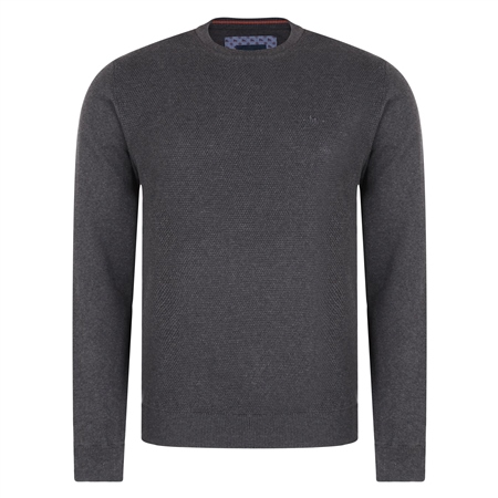 Grey Faugher Structure Cotton Crew Neck Classic Fit Jumper  - Click to view a larger image
