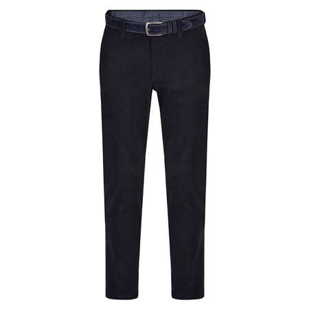 Dark Navy Braid Needle Cord Slim Fit Trousers  - Click to view a larger image