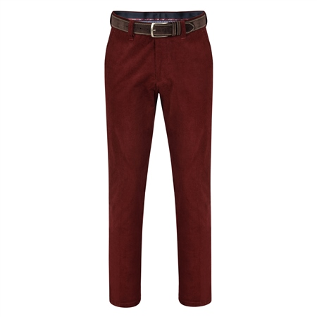 Burgundy Dungloe Needle Cord Classic Fit Trousers  - Click to view a larger image