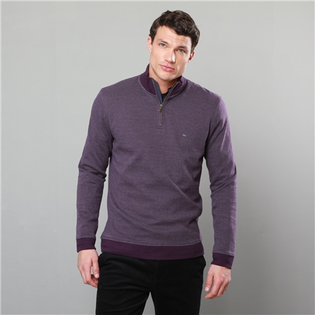 Plum Edrim 1/4 Zip Classic Fit Sweater  - Click to view a larger image