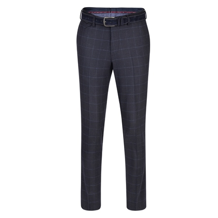 Navy & Blue Moyra Checked Slim Fit Trouser   - Click to view a larger image
