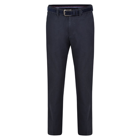 Dark Navy Dungloe Washed Look Classic Fit Trousers   - Click to view a larger image