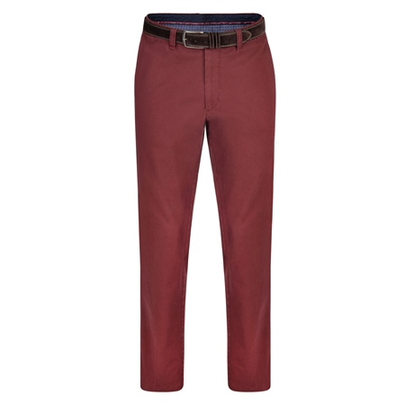 Burgundy Dungloe Washed Look Classic Fit Trouser  - Click to view a larger image