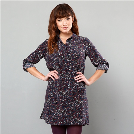 Purple Butterfly Liberty Print Scarlett Shirt Dress   - Click to view a larger image
