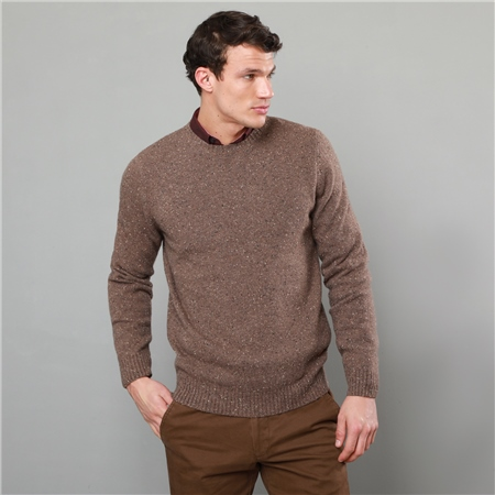 Oat Tamur Lambswool Donegal Fleck Crew Neck Jumper  - Click to view a larger image