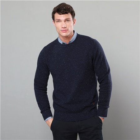 Navy Tamur Lambswool Donegal Fleck Crew Neck Jumper  - Click to view a larger image