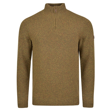 Brown Tamur Lambswool Donegal Fleck 1/4 Zip Jumper  - Click to view a larger image