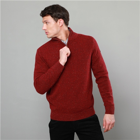 Red Tamur Lambswool Donegal Fleck 1/4 Zip Jumper  - Click to view a larger image
