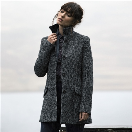Black & White Linsford Herringbone Donegal Tweed Coat  - Click to view a larger image