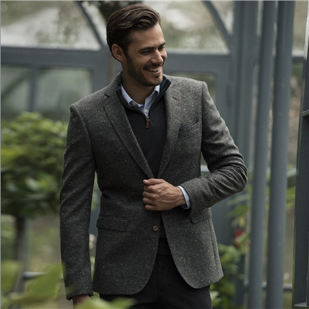 Green Liffey Salt & Pepper Donegal Tweed Classic Fit Jacket  - Click to view a larger image