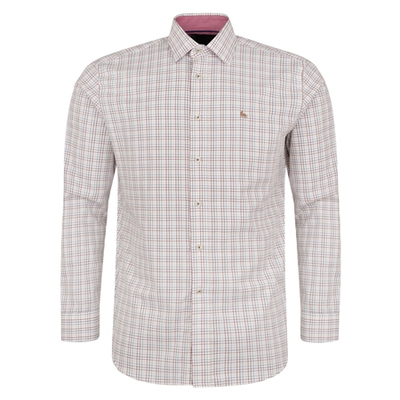 White & Burgundy Drumore Grid Check Classic Fit Shirt  - Click to view a larger image