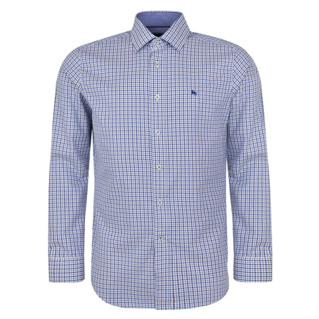 Blue Drumore Gingham Check Classic Fit Shirt  - Click to view a larger image