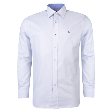 White Drumore Geometric Print Classic Fit Shirt  - Click to view a larger image