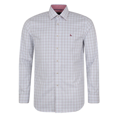 White & Blue Drumore Grid Check Classic Fit Shirt  - Click to view a larger image