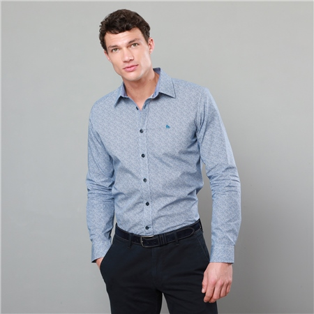 Blue Dunaff Print Tailored Fit Shirt  - Click to view a larger image