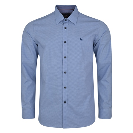 Blue Lisnaree Micro Design Tailored Fit Shirt   - Click to view a larger image