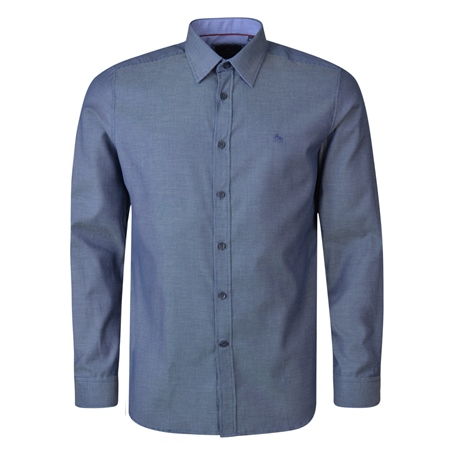 Navy Lisnaree Micro Design Tailored Fit Shirt  - Click to view a larger image