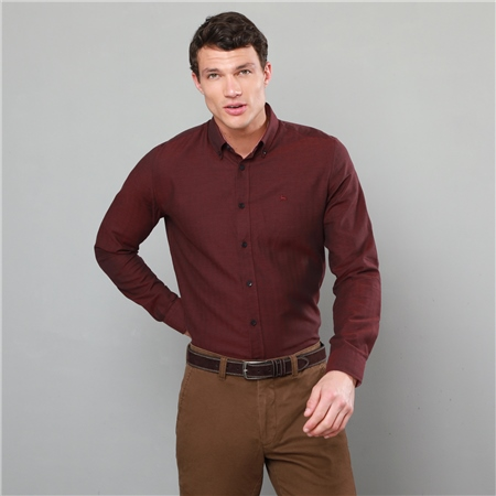 Burgundy Rarooey Button Down Tailored Fit Shirt  - Click to view a larger image