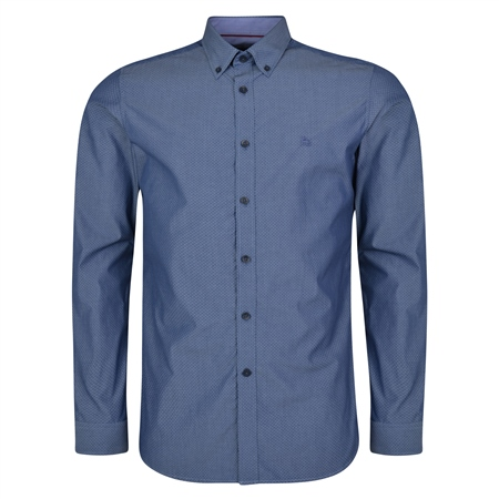 Blue Rarooey Jacquard Button Down Tailored Fit Shirt  - Click to view a larger image
