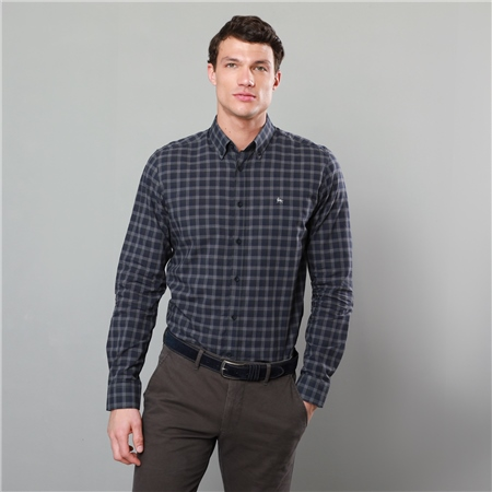 Navy Rarooey Checked Button Down Tailored Fit Shirt  - Click to view a larger image