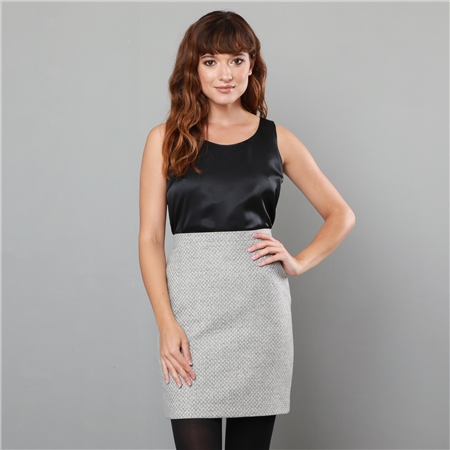 Grey Carey Geometric Weave Skirt  - Click to view a larger image