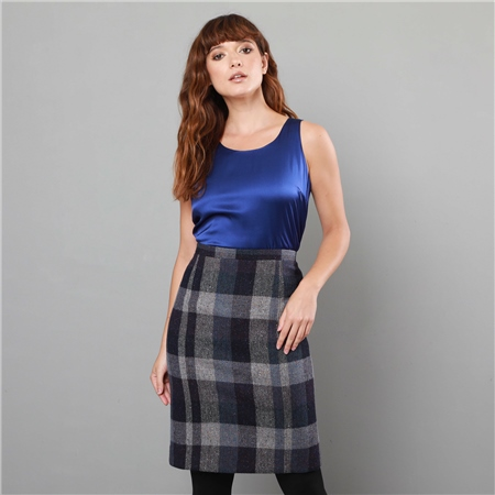 Charcoal Patchwork Dana Salt & Pepper Donegal Tweed Tailored Fit Pencil Skirt   - Click to view a larger image