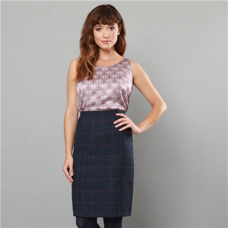 Navy & Pink Dana Country Check Tailored Fit Pencil Skirt   - Click to view a larger image