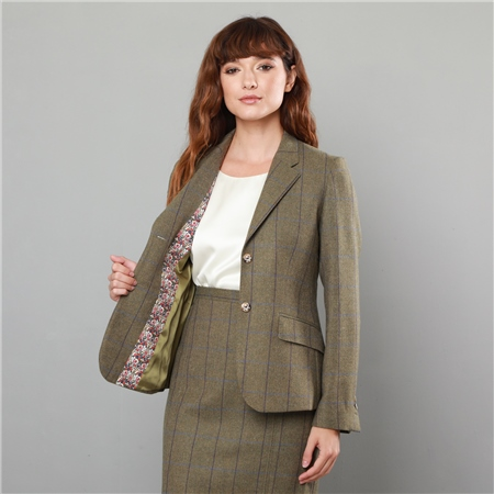 Green Alicia Country Check Classic Fit Blazer  - Click to view a larger image