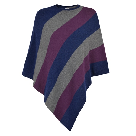 Navy, Grey & Purple Striped Leah Poncho  - Click to view a larger image
