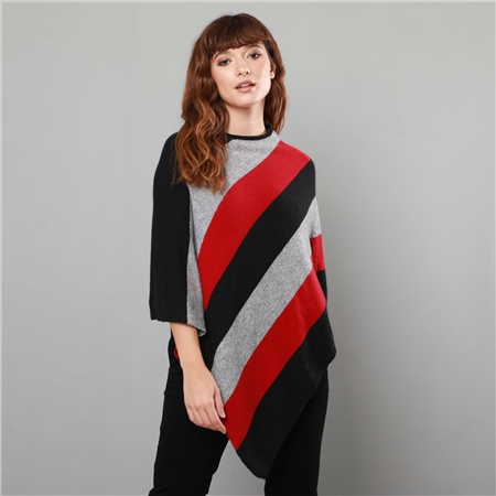 Black, Orange & Grey Leah Poncho  - Click to view a larger image