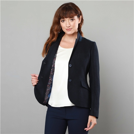 Navy & Blue Lily Donegal Flecked Tailored Fit Blazer  - Click to view a larger image