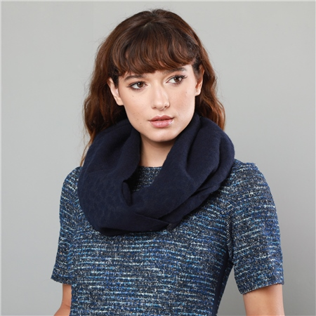 Navy & Grey Pure New Wool Scarf  - Click to view a larger image
