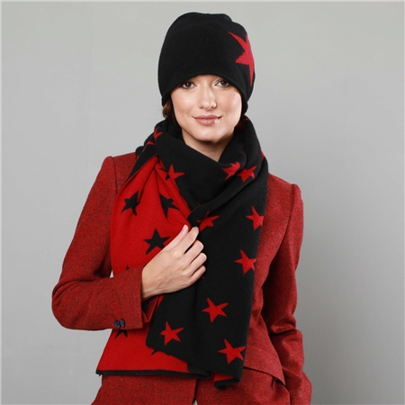 Black & Red Double Sided Womens Scarf  - Click to view a larger image