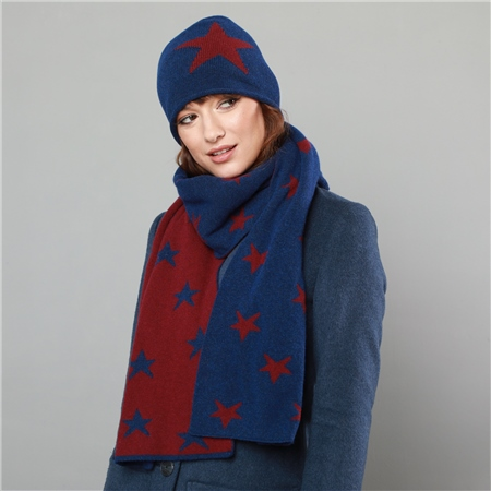 Blue & Red Double Sided Scarf   - Click to view a larger image
