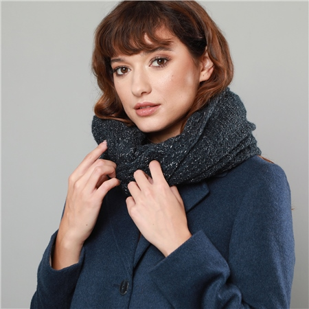 Luxury Black Loose Knit Snood  - Click to view a larger image