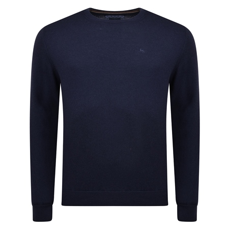 Lunniagh Navy Lambswool Crew Neck Jumper  - Click to view a larger image