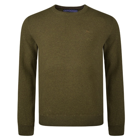 Green Lunniagh Lambswool Crew Neck Jumper   - Click to view a larger image