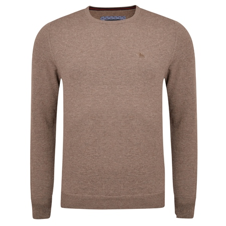 Brown Lunniagh Lambswool Crew Neck Jumper  - Click to view a larger image