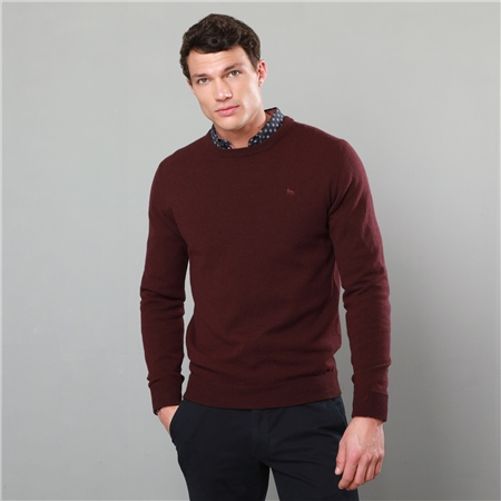 Purple Lunniagh Lambswool Crew Neck Jumper  - Click to view a larger image