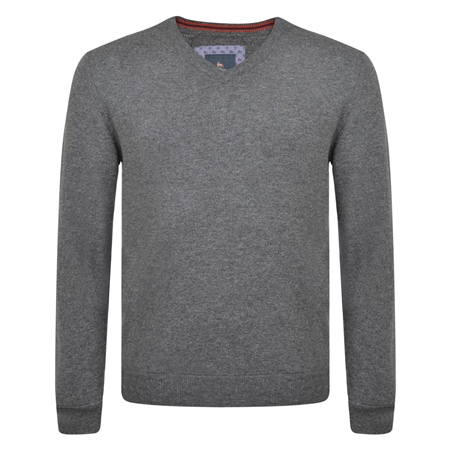 Charcoal Lunniagh Lambswool V Neck Jumper  - Click to view a larger image