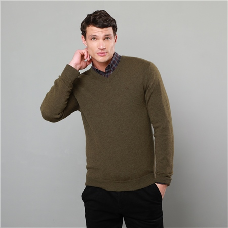 Green Lunniagh Lambswool V Neck Jumper  - Click to view a larger image