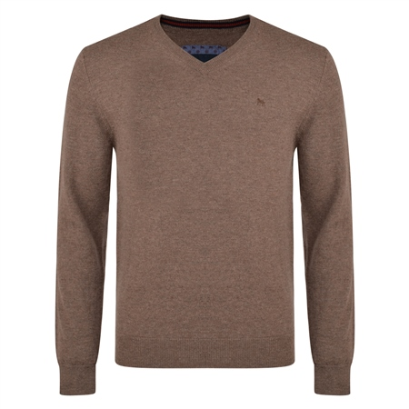 Brown Lunniagh Lambswool V Neck Jumper  - Click to view a larger image
