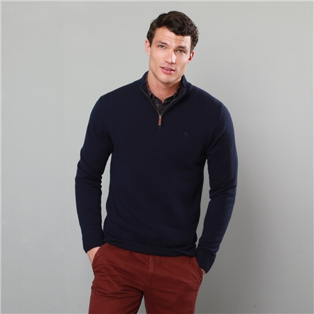 Navy Lunniagh Lambswool 1/4 Zip Jumper  - Click to view a larger image
