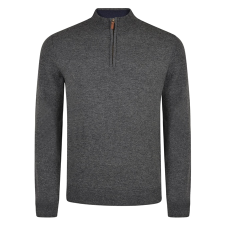 Charcoal Lunniagh Lambswool 1/4 Zip Jumper  - Click to view a larger image