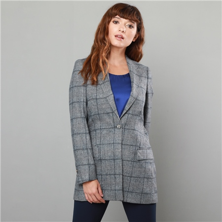 Grey & Navy Moyne Checked Jacket  - Click to view a larger image