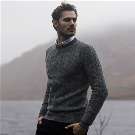 Grey Mullans Lambswool Cable Crew Neck Jumper  - Click to view a larger image