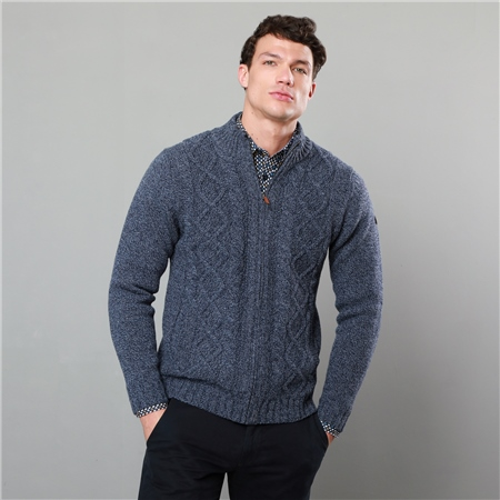 Navy Rossgeir Lambswool Full Zip Jumper  - Click to view a larger image