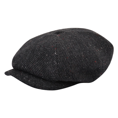 Charcoal Herringbone Donegal Tweed Baker Cap  - Click to view a larger image